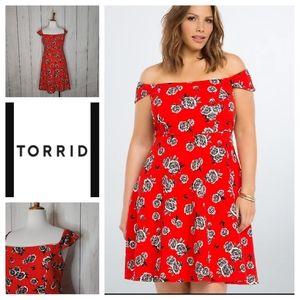 Torrid Floral Textured Off Shoulder Dress